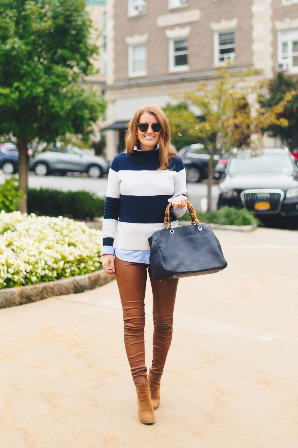 design darling j.crew 1988 rollneck sweater in wide stripes navy ivory with mark & graham bamboo elisabetta slouch handbag and polo ralph lauren leather skinny pant in cocoa bean
