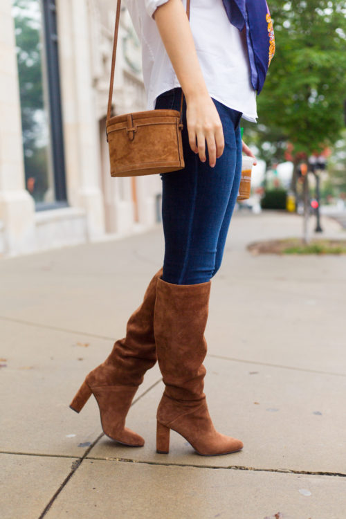 hunting season trunk suede shoulder bag and banana republic suede tall slouchy boot in nutmeg suede