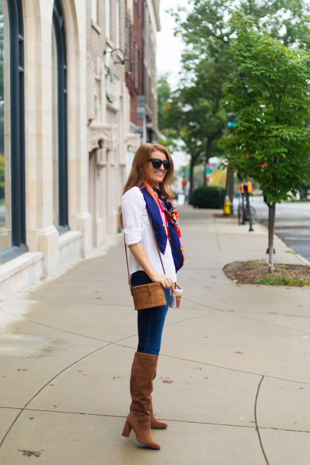 hunting season trunk suede shoulder bag and banana republic suede tall slouchy boot in nutmeg suede on design darling