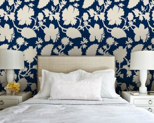 navy floral peel and stick wallpaper