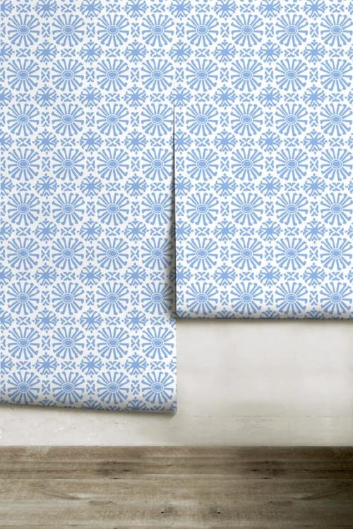 blue tile pattern peel and stick wallpaper