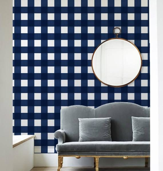 navy gingham peel and stick wallpaper