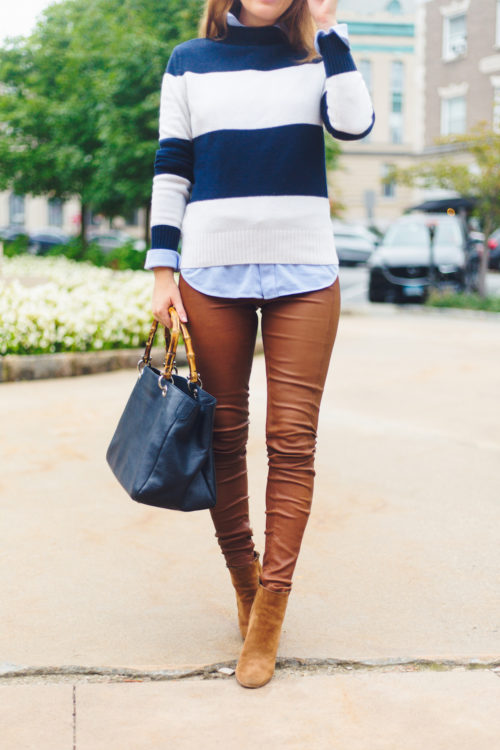 j.crew 1988 rollneck sweater in wide stripes navy ivory with mark & graham bamboo elisabetta slouch handbag and polo ralph lauren leather skinny pant