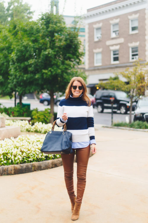 j.crew 1988 rollneck sweater in wide stripes navy ivory with mark & graham bamboo elisabetta slouch handbag and polo ralph lauren leather skinny pant in cocoa bean