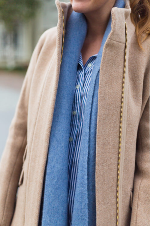 j.crew cocoon coat and & other stories oversized wool scarf in light blue