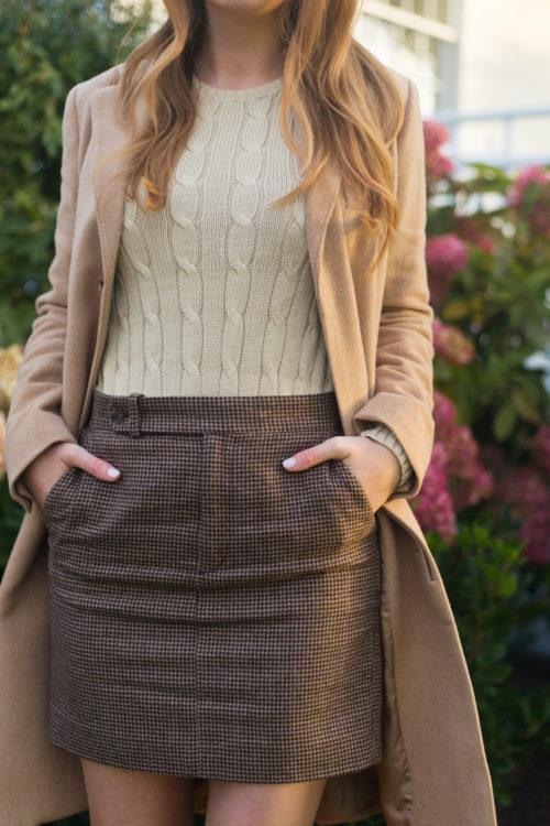 polo ralph lauren wool-blend chesterfield coat polo ralph lauren cable-knit sweater polo ralph lauren houndstooth tweed miniskirt