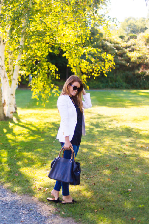 smythe white duchess blazer and mark and graham bamboo elisabetta slouch handbag
