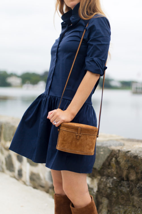 the shirt by rochelle behrens drop waist shirt dress and hunting season trunk suede shoulder bag