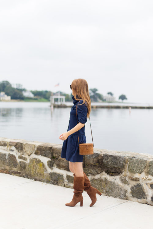 the shirt by rochelle behrens drop waist shirt dress and hunting season trunk suede shoulder bag and banana republic suede tall slouchy boot