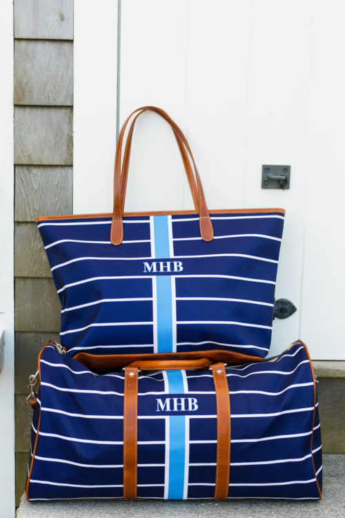 barrington gifts st. anne zippered tote and belmont cabin bag in navy stripe