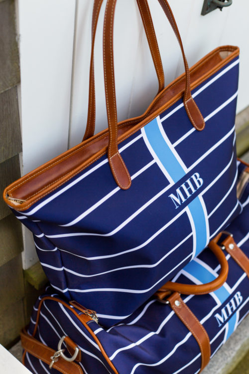 barrington gifts st. anne zippered tote in navy stripe