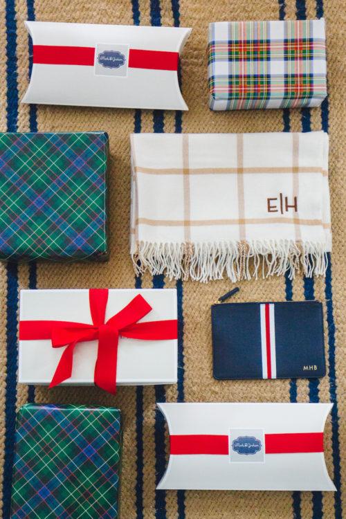 mark & graham windowpane blanket scarf with holiday gift wrap