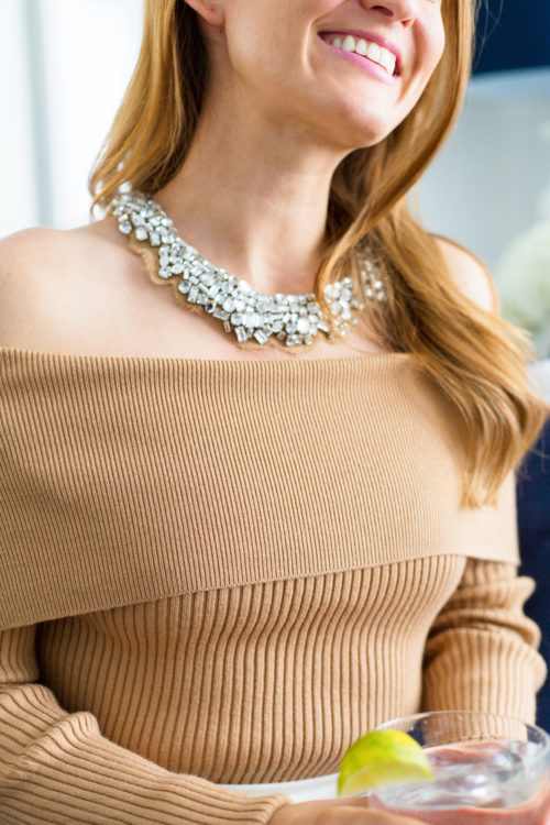 mignonne gavigan alice necklace nude and english factory off the shoulder sweater