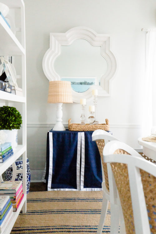 quatrefoil mirror and custom table skirt in design darling dining room
