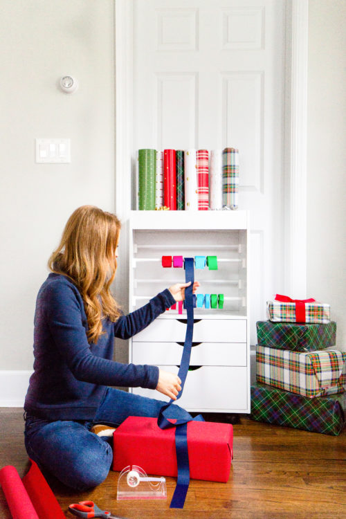 how to organize wrapping paper and gift bags