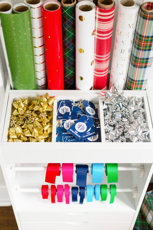 how to organize wrapping paper bows and ribbon