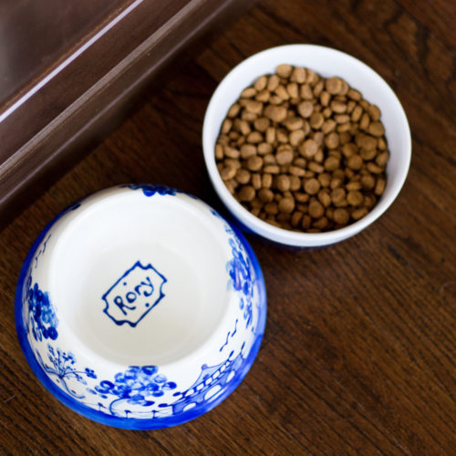 indigo home chinoiserie dog bowl