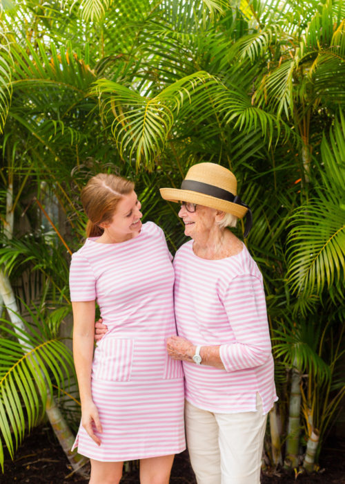 persifor carter dress in pink and white stripe
