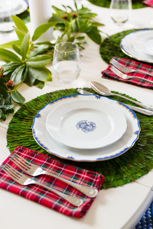 plaid napkins and boxwood placemats
