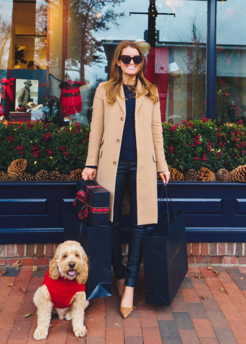 polo ralph lauren wool-blend chesterfield coat and leather skinny pant in navy on design darling