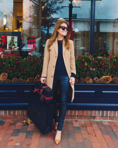 polo ralph lauren wool-blend chesterfield coat and leather skinny pant on design darling