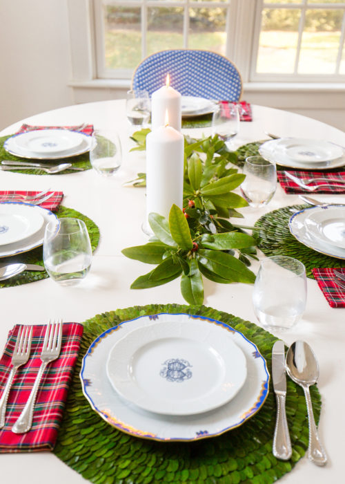 sasha nicholas monogrammed salad plates and boxwood placemats