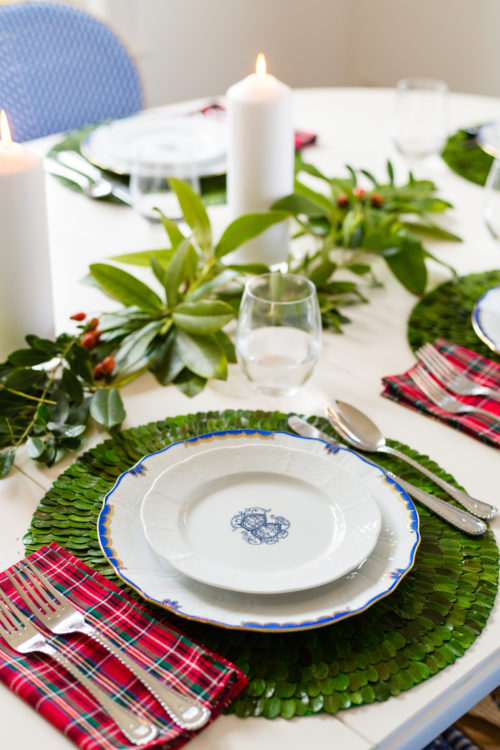 sasha nicholas weave salad plate herend princess victoria blue dinner plate plaid napkin and boxwood placemats