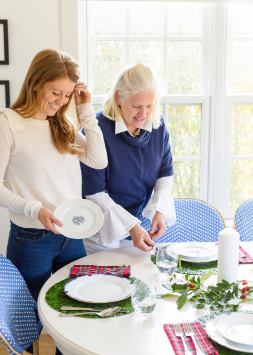tyler boe cashmere bow sweater and sasha nicholas monogrammed salad plates