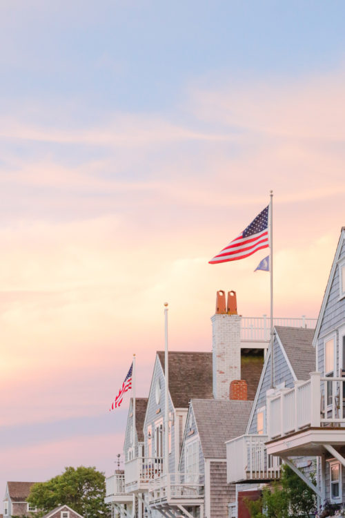 Nantucket Print Shop American Flags at Sunset