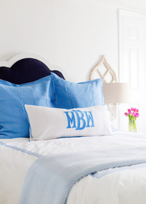 design darling monogrammed pillow in guest bedroom