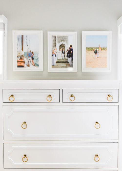 ikea hemnes dresser before and after with overlays and brass ring pulls