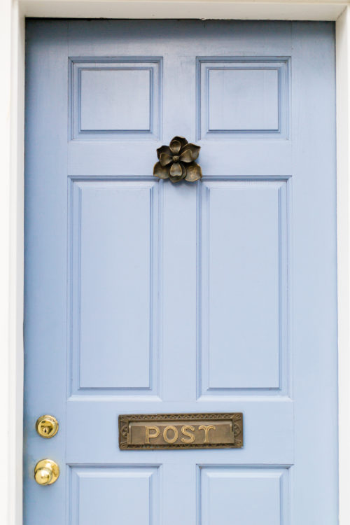 blue door with magnolia door knocker charleston