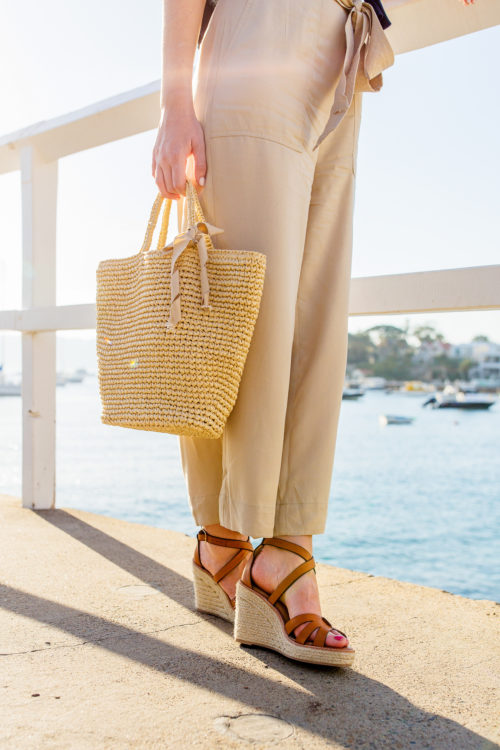 banana republic espadrille wedge in nutmeg brown leather