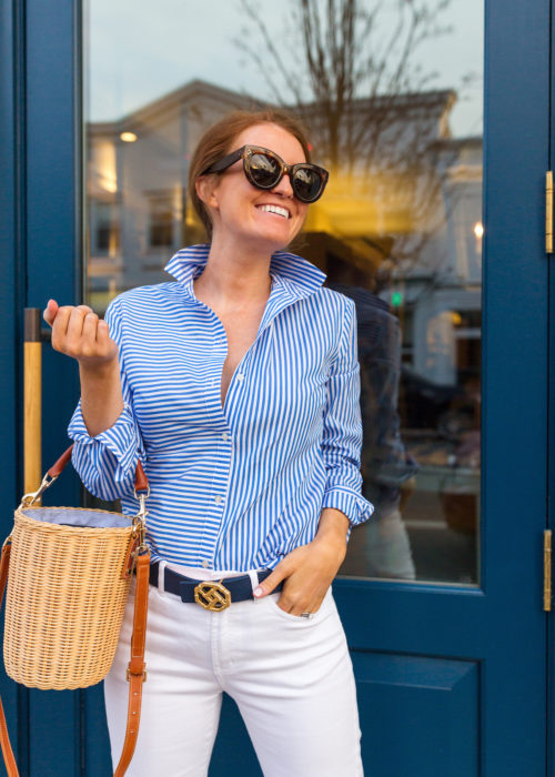 j.mclaughlin lois blouse and natural erin wicker bucket bag on design darling