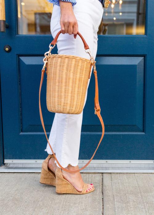 j.mclaughlin natural erin wicker bucket bag and cork middleton cork wedge sandal on design darling