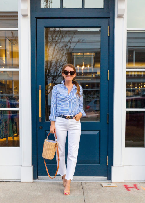 j.mclaughlin natural erin wicker bucket bag and white dahlia jeans