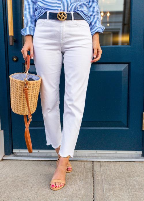 j.mclaughlin natural erin wicker bucket bag white dahlia jeans and cork middleton cork wedge sandal