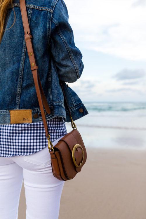 ralph lauren denim trucker jacket and leather mini lennox bag with slim fit gingham shirt