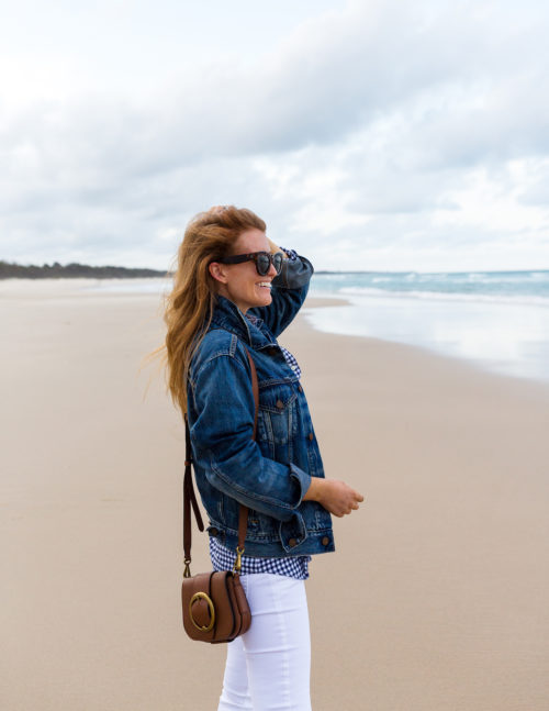 ralph lauren denim trucker jacket and leather mini lennox bag with white jeans