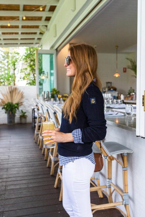 ralph lauren slim fit gingham shirt and button-shoulder cotton sweater on design darling