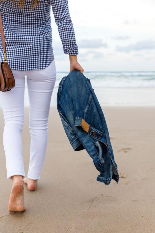 ralph lauren slim fit gingham shirt and tompkins skinny jean in white