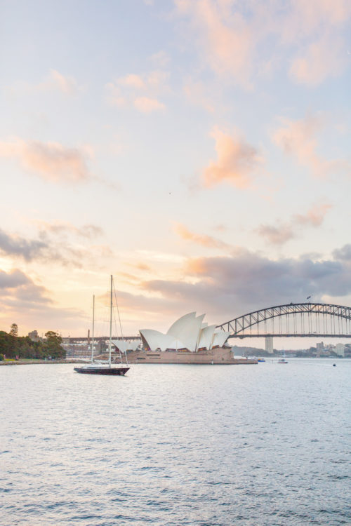 sydney opera house sunset from mrs. macquarie's chair on design darling