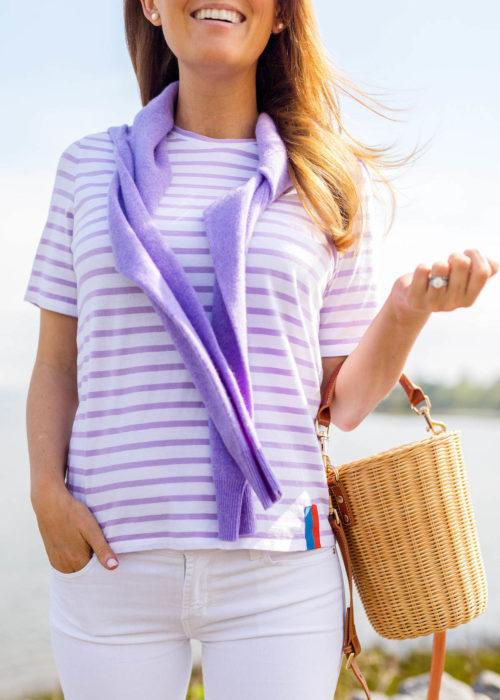 kule modern tee in white lilac stripes