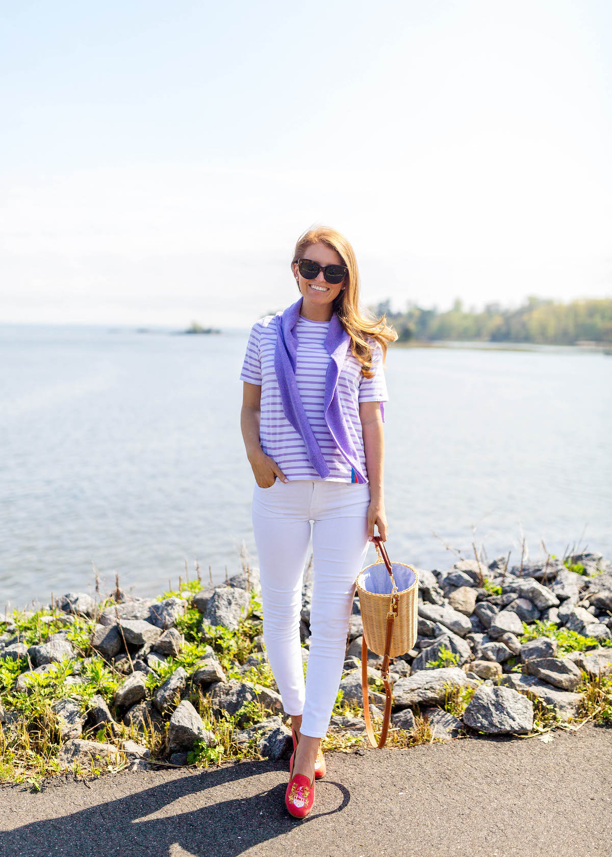 kule modern tee in white lilac stripes on design darling