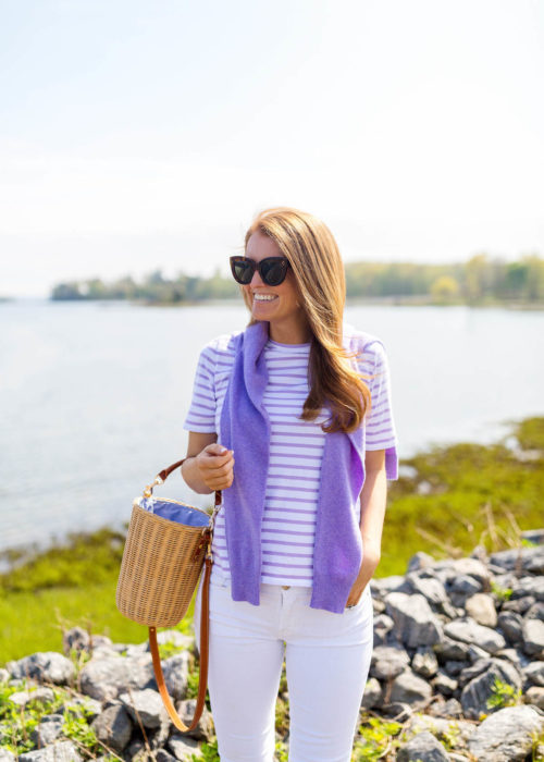 kule modern tee in white lilac stripes with purple sweater