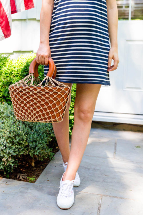 kule tee dress navy cream stripe and staud loni bag