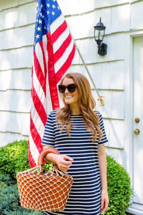 kule tee dress navy cream stripe on design darling