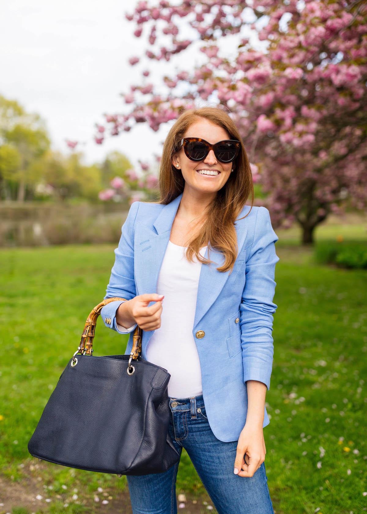smythe duchess blazer in periwinkle mark and graham bamboo elisabetta slouch handbag