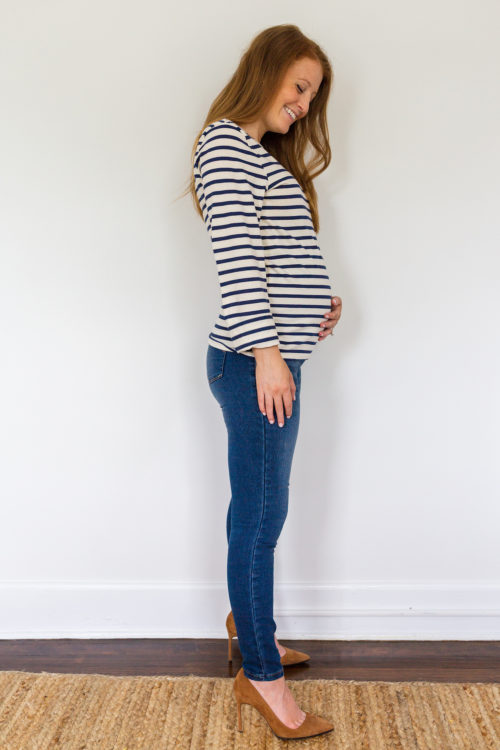 maternity jeans review 1822 Denim stretch 360 ankle skinny maternity jeans in Ziggy 2
