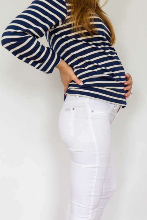 maternity jeans review 7 For All Mankind Ankle Skinny Maternity Jeans in clean white 3